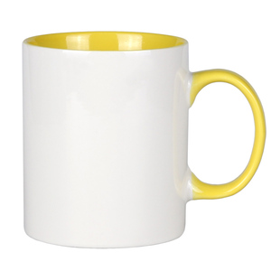 Inside color outside white ceramic mug coffee glaze print 10oz sublimation manufacture of ceramic products