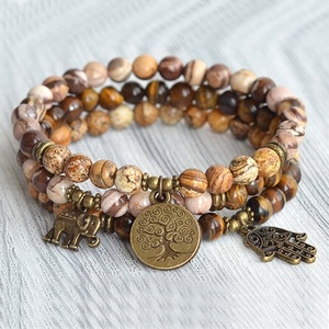 SN1451 6mm Beads Stacking bracelets Mala Yoga Jewelry Tree of life Elephant Hamsa Charm Tiger eye Zebra Jasper Beaded Bracelet