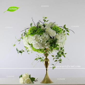 Gnw Green Hydrangea Rose Artificial Flowers And Twigs Foam Ball For Table