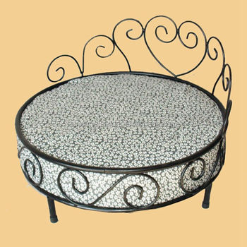 Luxury Wrought Iron Metal Round Princess Pet Dog Bed With Leopard Mattress