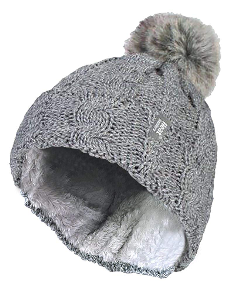 Get Quotations · HEAT HOLDERS - Womens Thick Knit Thermal Winter Warm Beanie  Hat with Pom Pom 49a3edba24ce
