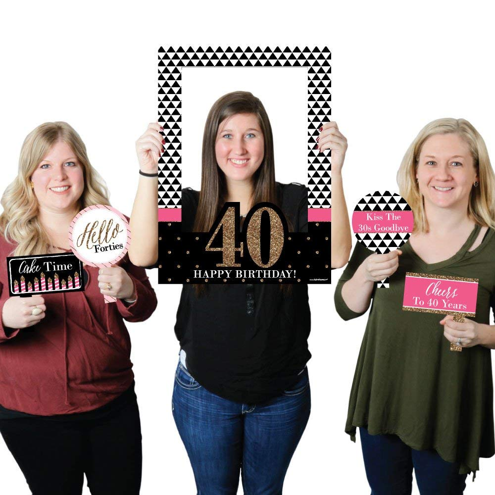 Big Dot of Happiness Chic 40th Birthday - Pink, Black and Gold - Birthday Party Selfie Photo Booth Picture Frame & Props - Printed on Sturdy Material