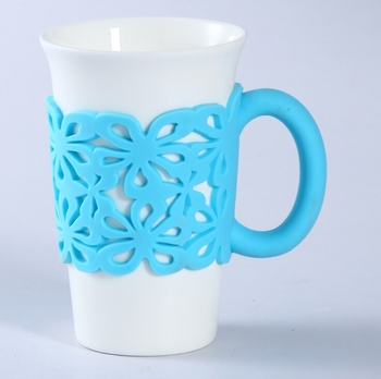 Flower Shape Hollow Out Silicone Coffee Cup Sleeve Reusable With Handle