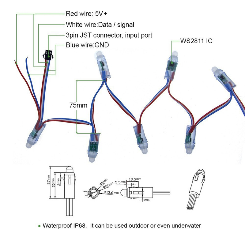 12mm IP68 Waterproof DC5V WS2811 Led Pixel Module Full Color RGB String Christmas LED Light Addressable