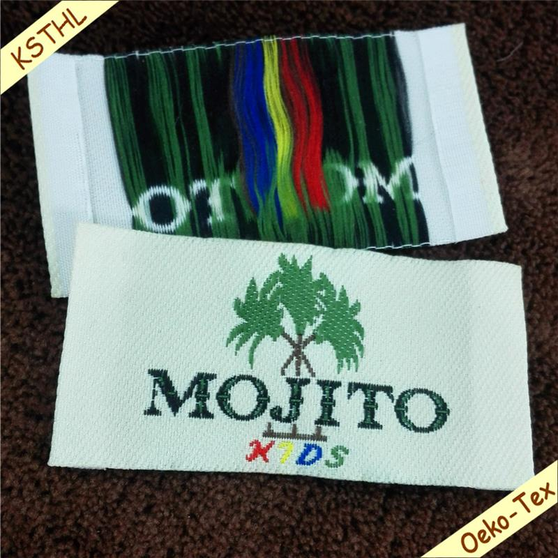 high quality custom 100% Polyester Woven Label small low MOQ Garment Hang Tags for clothes garment children fashion accessories