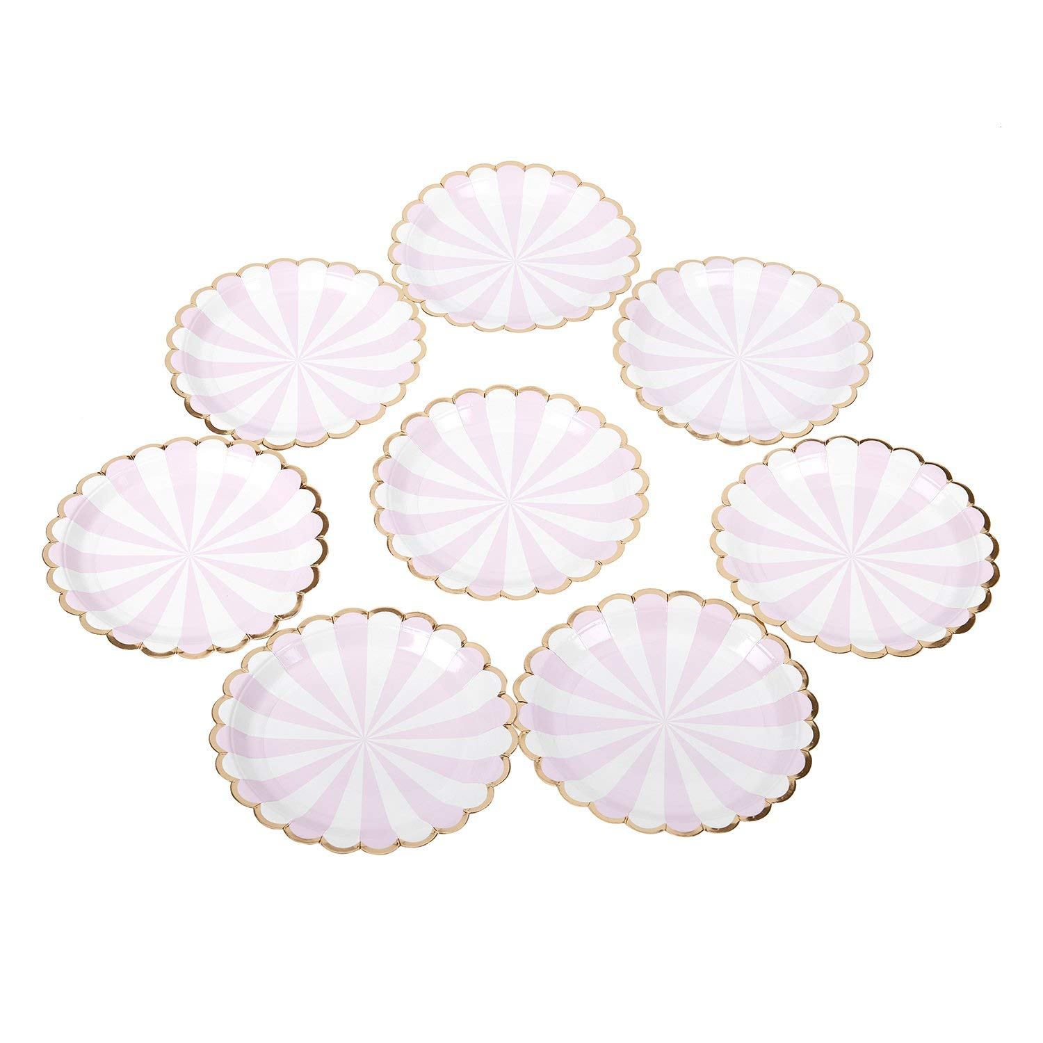 SODIAL Gilding High-end Disposable Tableware t Pink Striped Paper Plates Party Wedding Carnival Tableware Supplies