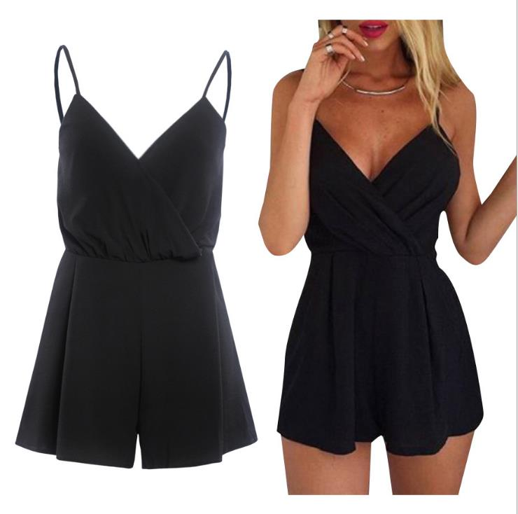 2019 Shorts Solid Black Tiefe V Hals Taille Lose Overalls Romper Sommer Lässig Overall Frauen Sexy Sleeveless Kurzen Overall