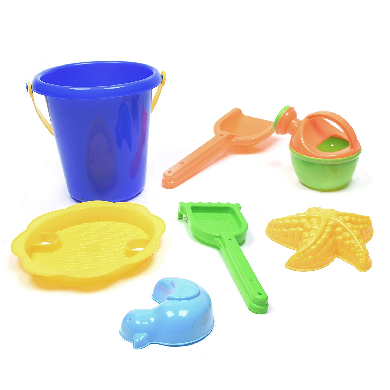 WonderPlay Beach Toys Sand Toys 7 Piece for Kids Toddlers Boys Girls, Bucket, Sand Sifter, Rake, Watering Can, Shovel, Duck and Starfish Molds Included