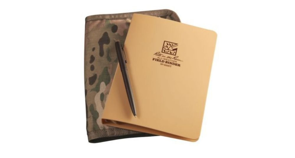Rite in the Rain All-Weather Binder Kit: MultiCam CORDURA Cover, Tan Binder, 50 Sheets Tan Universal Loose Leaf, All-Weather Pen (No. 9200M-KIT)