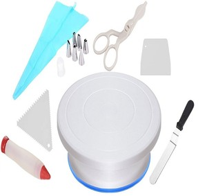 2019 Amazon hottest Revolving Spinner Turntable Stand Icing Spatula Scraper Flower Lifter Pen Tips Coupler Silicone Pastry