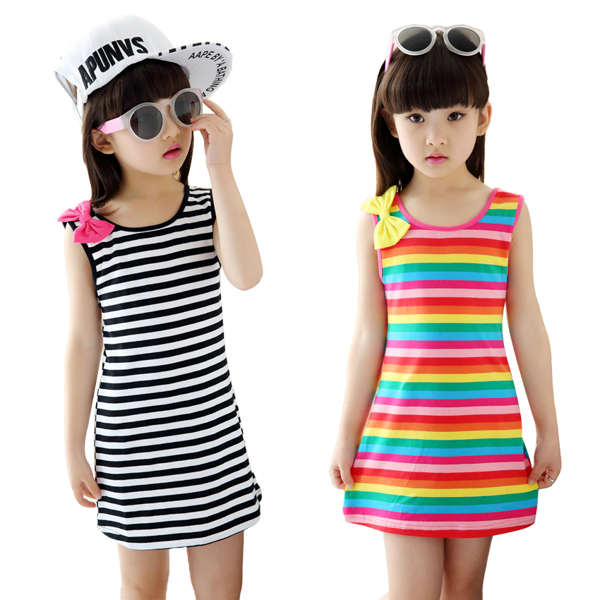 Summer Girls Dresses Cotton Casual Children Clothing Sleeveless Striped Baby Clothes For Girls Bow O Neck