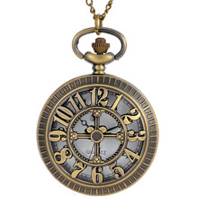 Steam punk men mechanical wind hand Vintage quartz pocket watch DS-NJ095