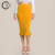 Custom Made Women Elegant Yellow Split Ruffle Hem Pencil Skirts