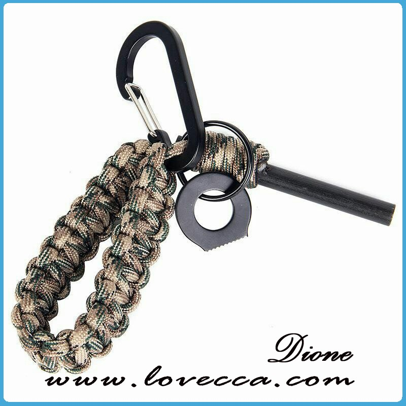 2016 wholesale 350/550 hiking outdoor paracord keychain with flint fire start