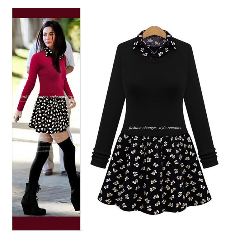 Plus size XL-5XL Winter Warm Dress New 2015 Fashion Autumn Long Sleeve Turn-down collar Polka Dot Patchwork Women Casual Dresses