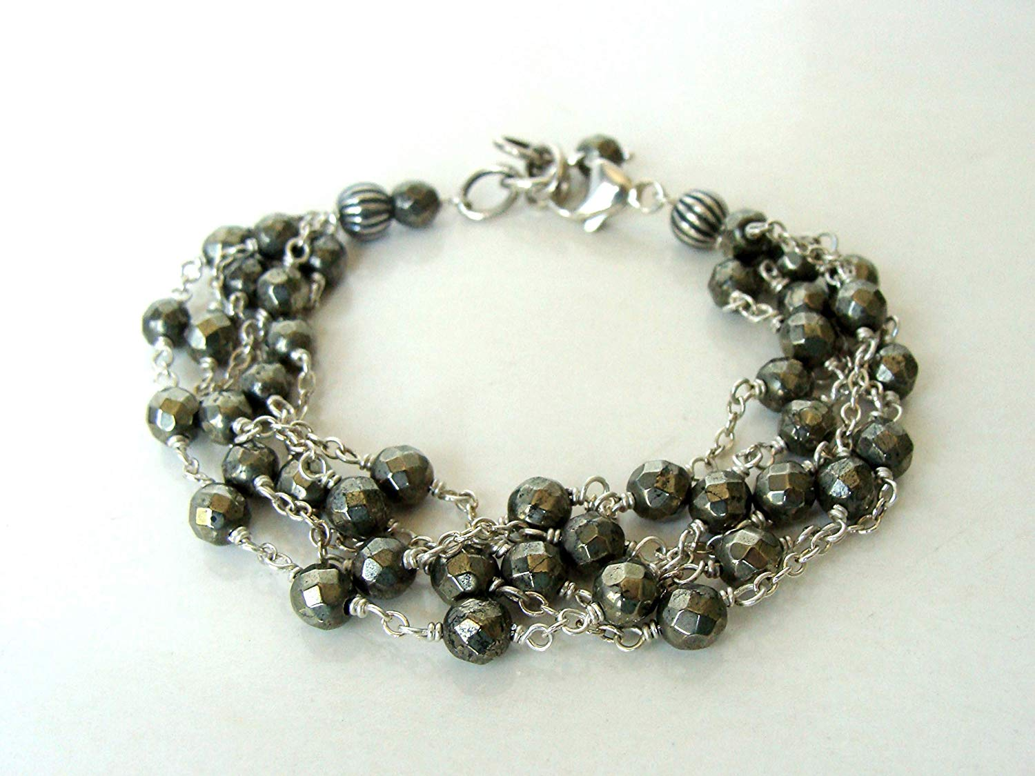 Multistrand pyrite sterling silver bracelet, gorgeous statement piece for everyday, adjustable 7-7.75 inches, Let Loose Jewelry handmade