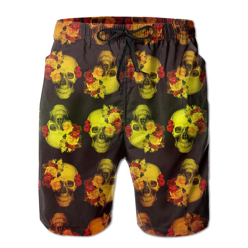 173da435b377e Get Quotations · Skull With Flower Masker Beach Men's Quick Dry Breathable Swim  Trunks With Pockets