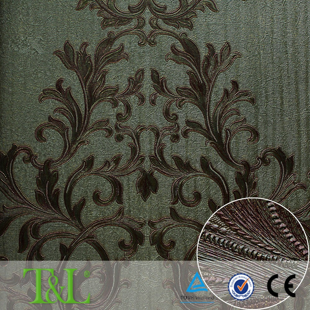 Wallcovering manufacturing heavyweight damask vinyl wallpaper