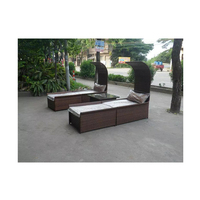 Factory outlets Latest design rattan furniture outdoor PE rattan sun bed lounger bed with canopy
