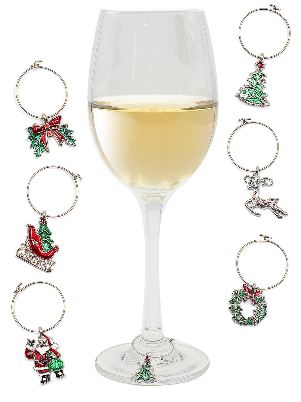 get quotations wine charms for glasses stemmed goblet christmas theme wine glass tags white steel ring markers - Christmas Wine Charms