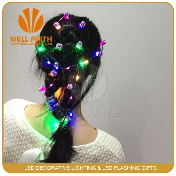 LED light string hair decoration with small flower clip