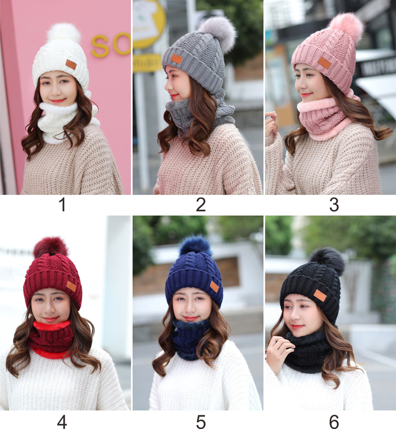 2-pieces Fashion Elegant Warm Knit Crochet Hairball Hat Thick Skull Cap Knitted Women Winter Hat And Scarf Set