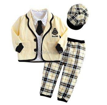86ff8dca93bc 2016 Hot Sale Boy Clothing Sets Yellow Coats School Style Boys Suits With  Grid Cap And