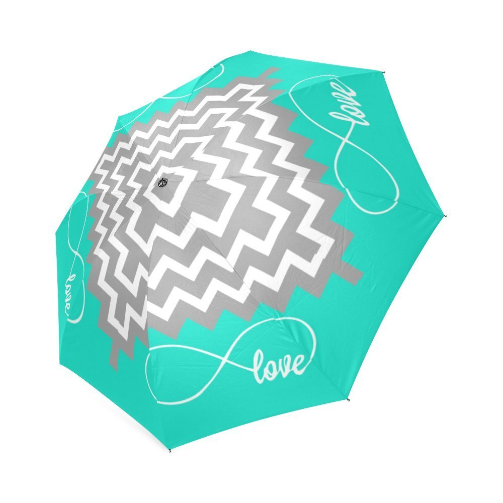 Love Infinity Forever Love Symbol Chevron Pattern Turquoise Grey White Automatic Compact Travel Windproof Rainproof Umbrella