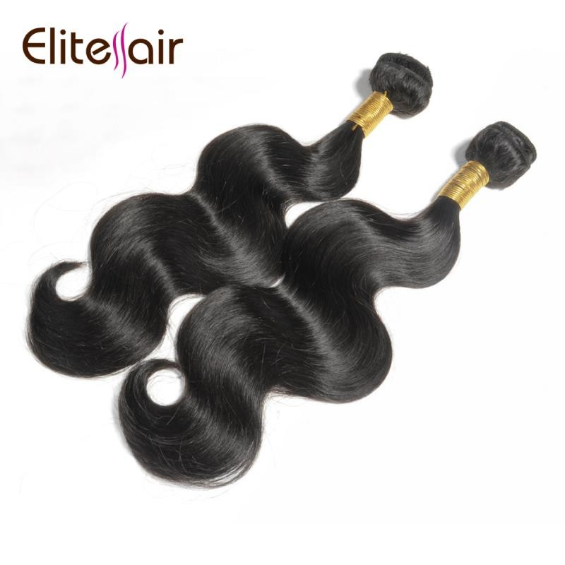 Elite Hair Factory Supply Raw Indian Unprocessed Virgin Body Wave Human Hair Bundles 100g/Piece All Length Available, Natural black 1b#