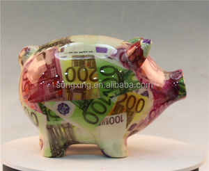 Wholesale ceramic pink pig piggy bank with thermo printing