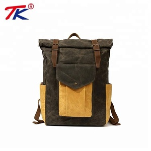 New Design Rucksack School Vintage Waxed Canvas Leather Backpack