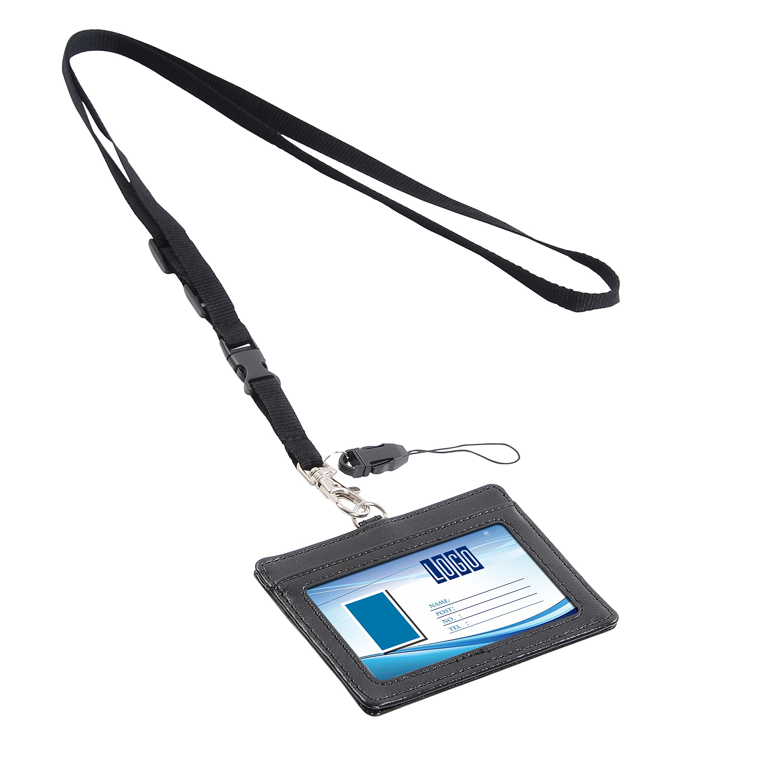 "Wisdompro Double Sided PU Leather ID Badge Card Holder with 23/""... Badge Holder"
