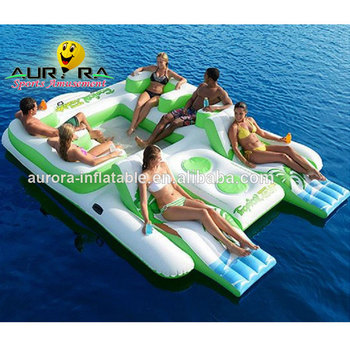 6 Person big Inflatable Water Floating Island Inflatable Island Lounge Inflatable River Raft Tropical Tahiti