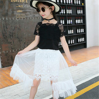 Children wear girls dress princess dress 2019 summer dress new big children Korean style lace skirt children skirt suit