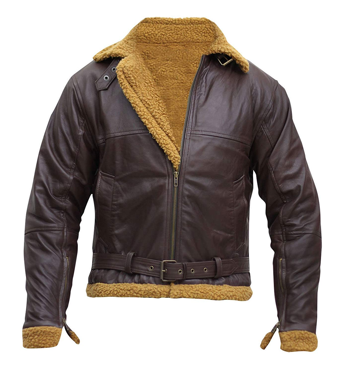 d8e4d6a4494b3 Get Quotations · NM Fashions Men s Aviator RAF B3 Ginger Shearling Sheepskin  Leather Bomber Flying Jacket