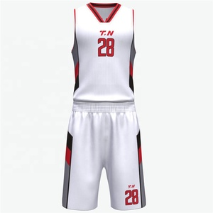 Competitive Price custom Team sublimation white color logo basketball jersey design template