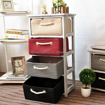 Colorful Mini Wooden Storage Cabinet With Rattan Drawers