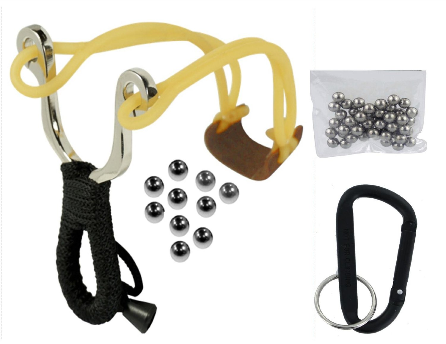 VAS EMERGENCY SURVIVAL COMPACT SLING SHOT & 10 PK 6MM / 50 PK 8MM AMMO WITH CARABINER