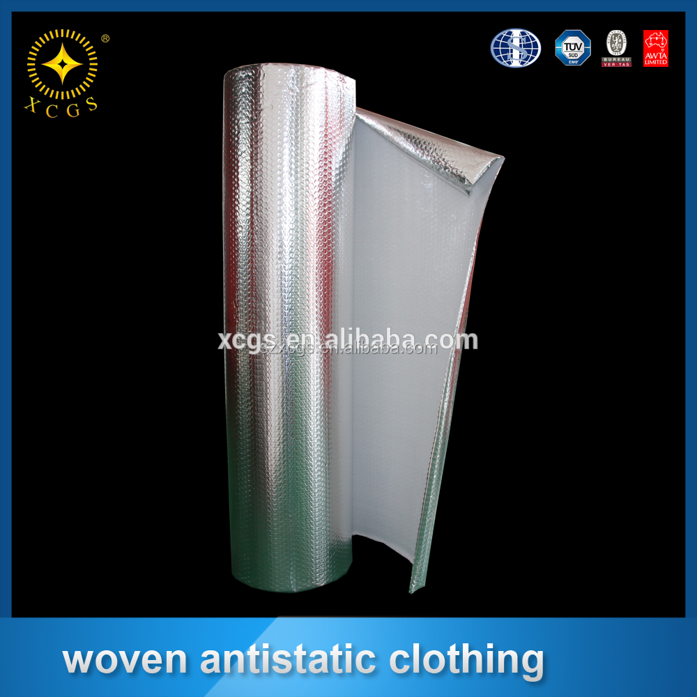 Single sided reflecting foil with woven polyethylene scrim for attic insulation