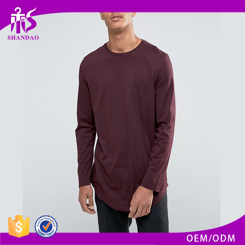 Guangzhou OEM Manufacturer Soft Casual 180g 100% Cotton Long Sleeve O-Neck Long Tee