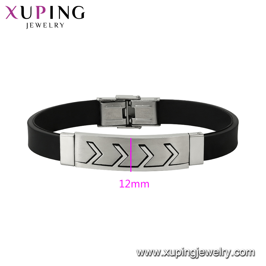 75766 XUPING Stainless Steel Black Color Bracelet Bangle Fashion Leather Bracelet
