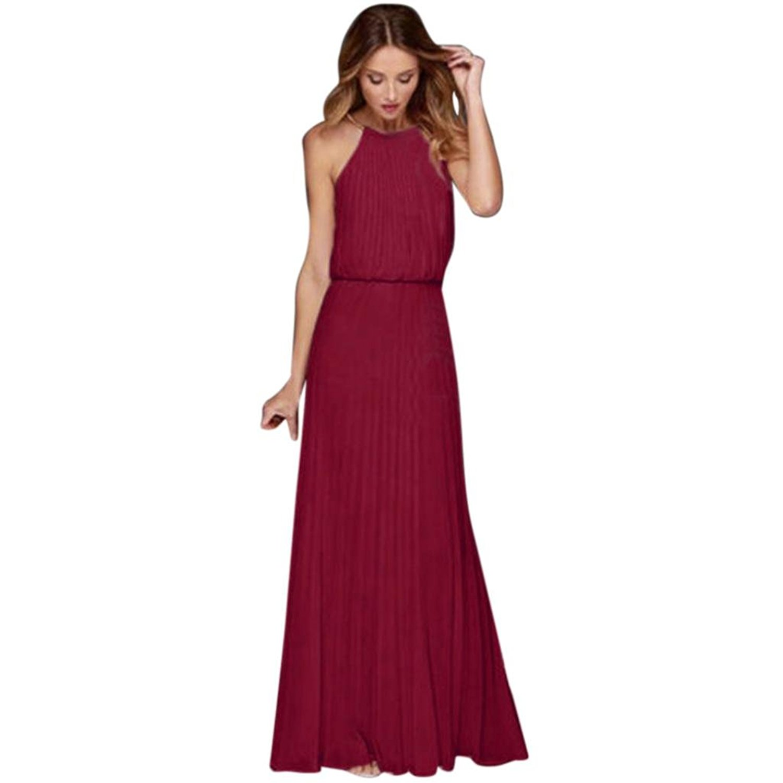 Get Quotations · Greatgiftlist Womens Pleated Sleeveless Halter Retro Flowy  Chiffon Dress Evening Gown Maxi Dress 211f4dd22