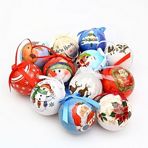 OEM Ceramic Christmas round Balls Baubles and Ornaments cute santa face bowknot hanging