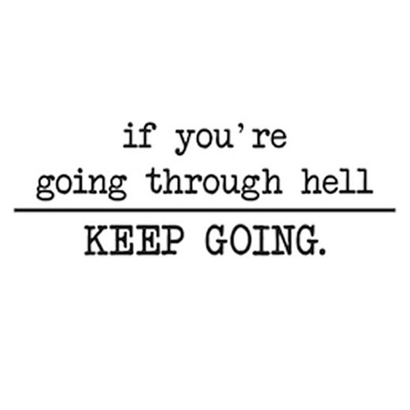 If You Are Going Through Hell Keep Going Inspiring Wall Decals Quote Removable Art Home Decor Wall Sticker 58x19cm