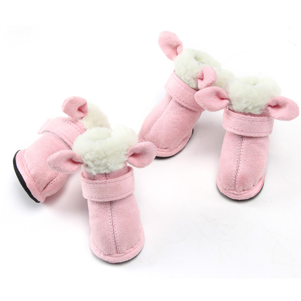 Lovoyager Pet Products suede soft polyester Sherpa cute dog shoes pink winter dog boots