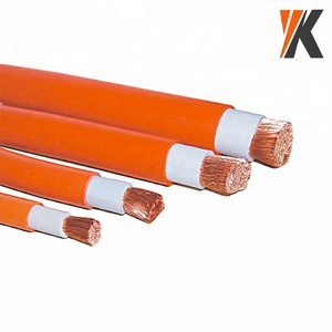Orange red color 0 2 awg 4 gauge 6 awg copper wire PVC / Rubber flexible welding cable