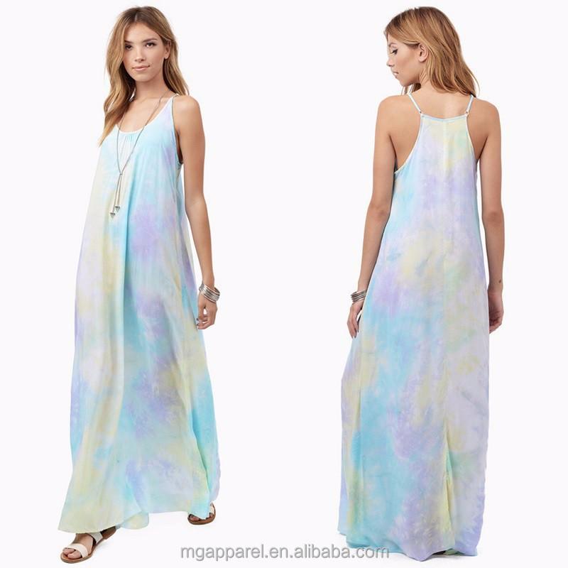 8c40e7d1ce3 Cheap wholesale plus size dress adjustable straps jersey ladies tie dye  maxi dress