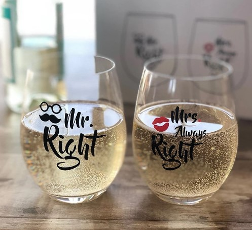 16oz Crystal Mr Right and Mrs Always Right Gift Stemless Wine Glasses Set