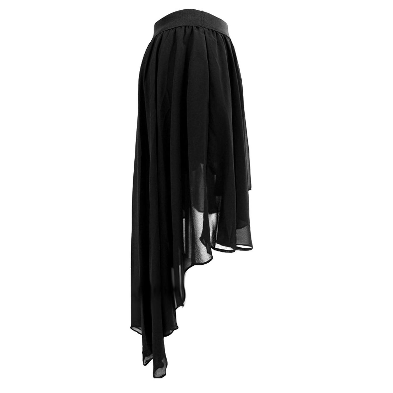 5affb382c5 2019 Women Elastic Waist High Low Hem Chiffon Midi Skirt Black M ...