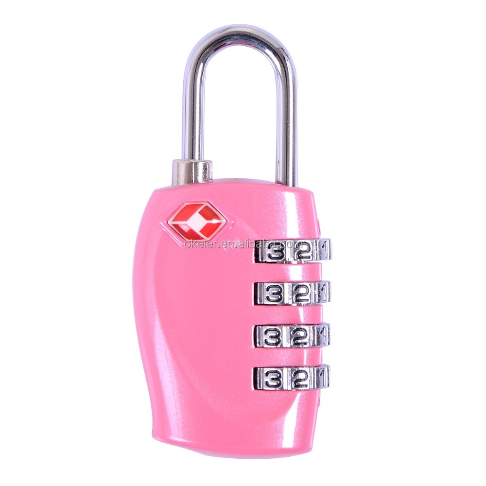 TSA Resettable 4-dial Combination Travel Luggage Suitcase Key Code Lock Padlock Pink